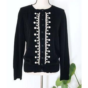 S5A Cashmere Pom Pom Embroidered Black Cardigan